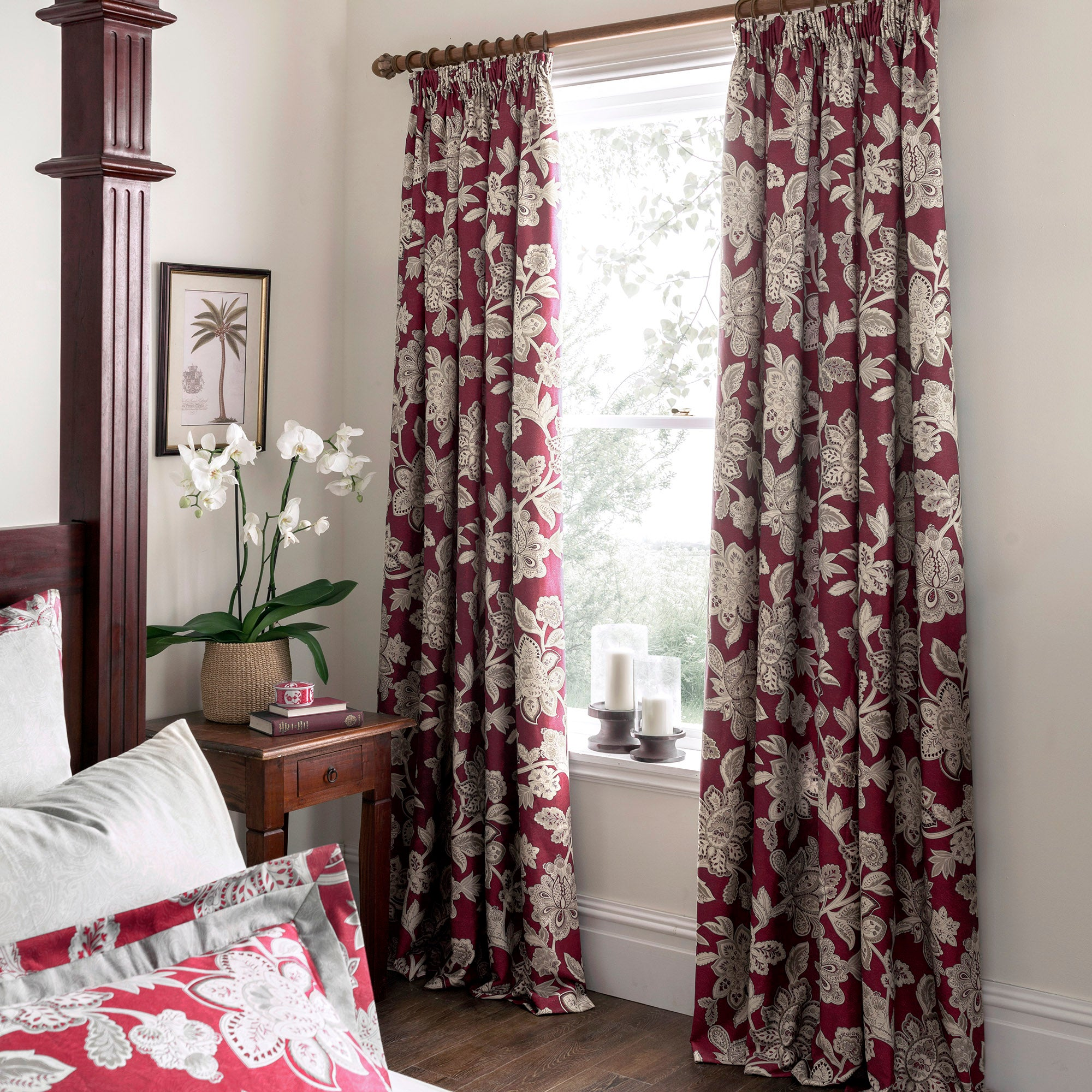 Dorma Red Samira Lined Pencil Pleat Curtains