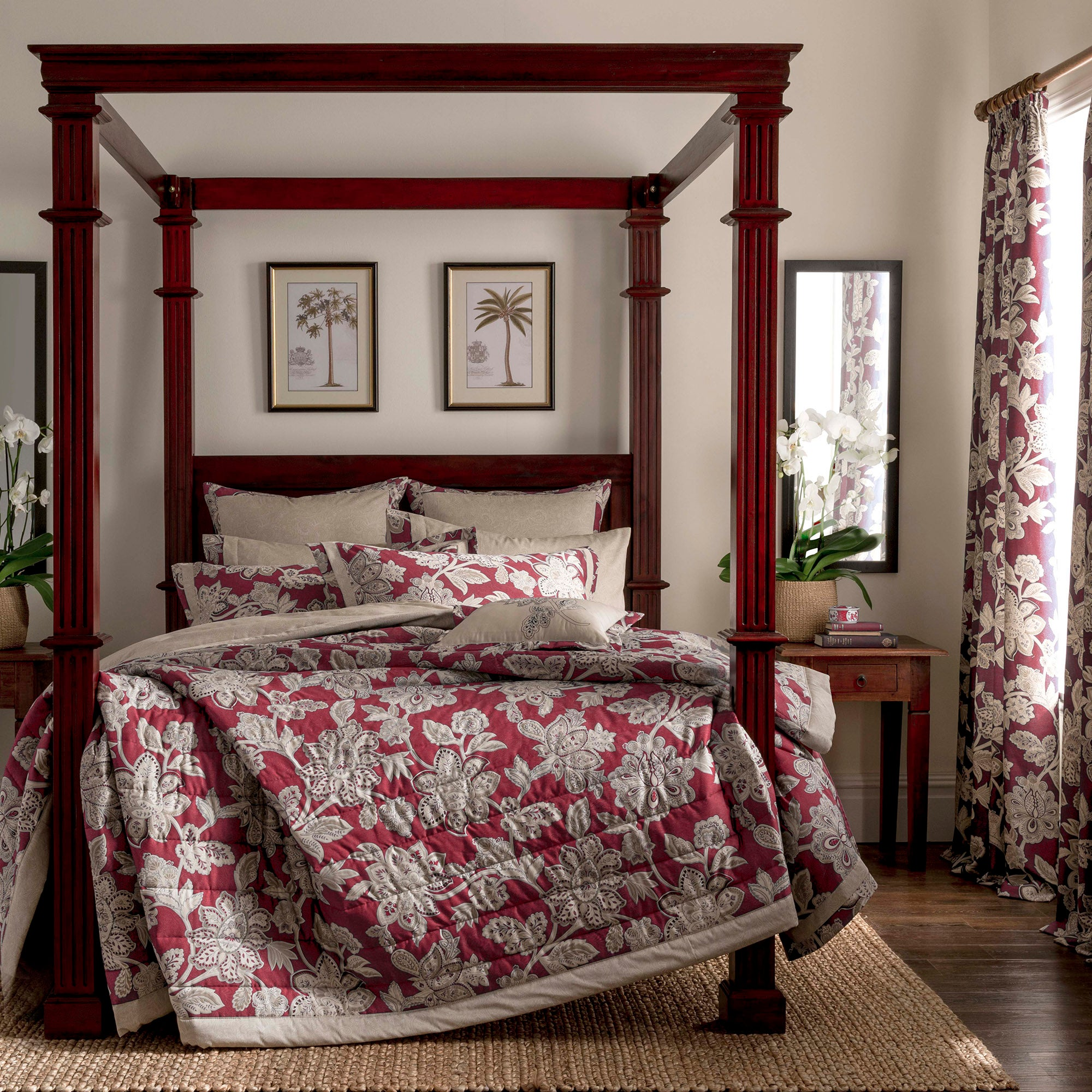 Dorma Red Samira Collection Quilted Throw