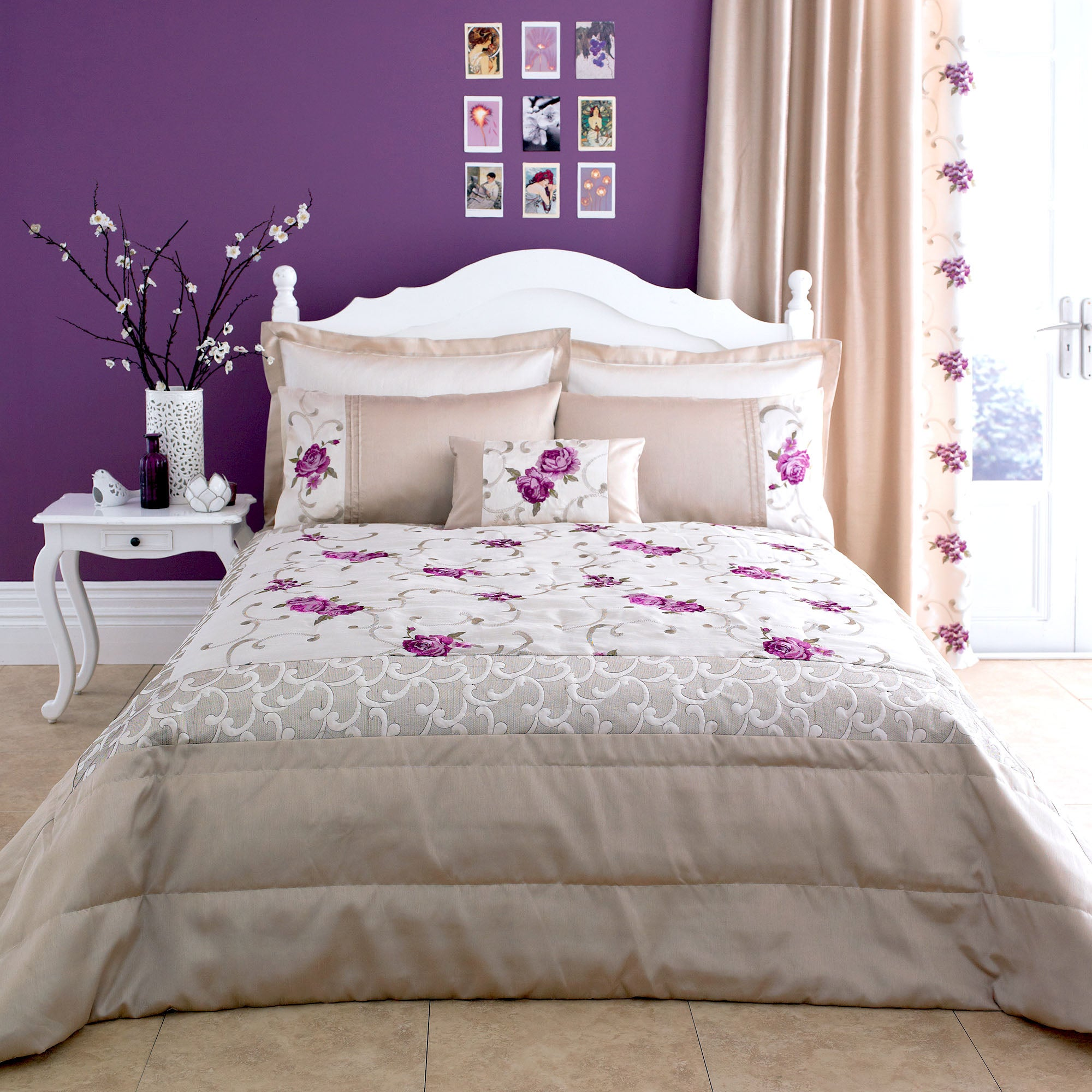 Plum Juliet Collection Bedspread