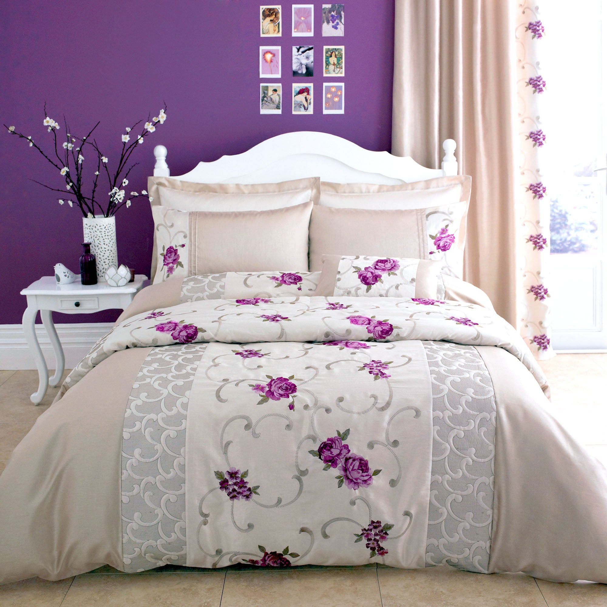 Plum Juliet Collection Duvet Cover