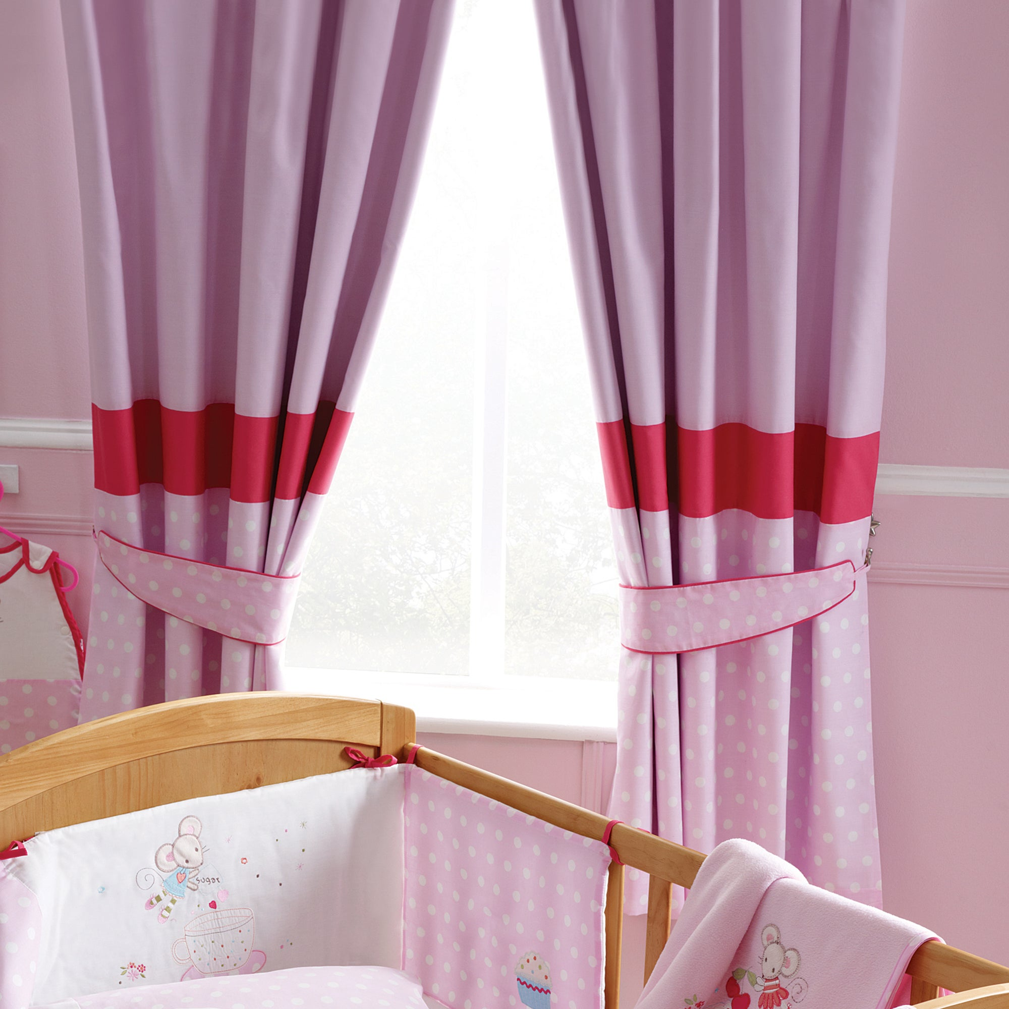 Kids Maisie Mouse Blackout Pencil Pleat Curtains