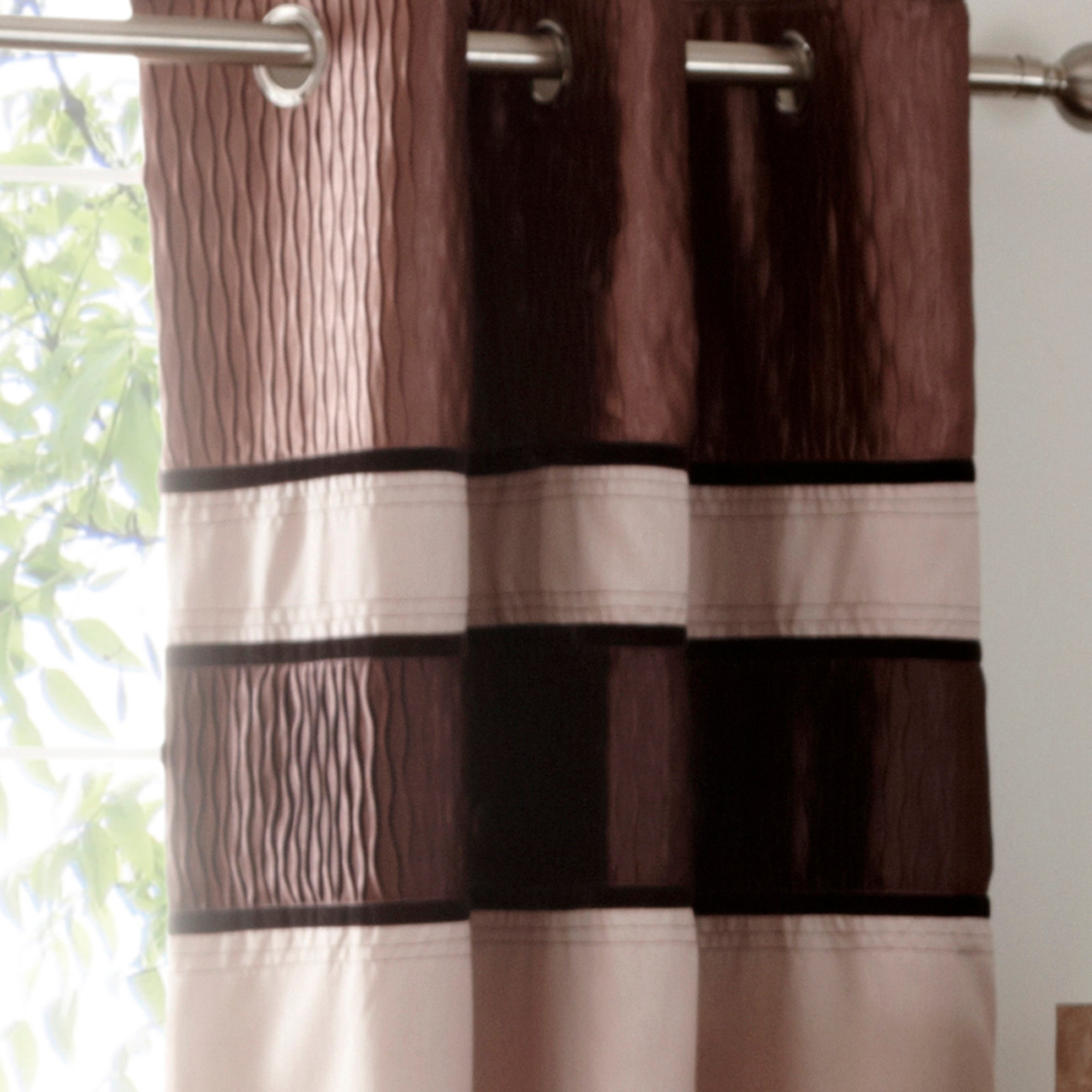 Mocha Manhattan Lined Eyelet Curtains