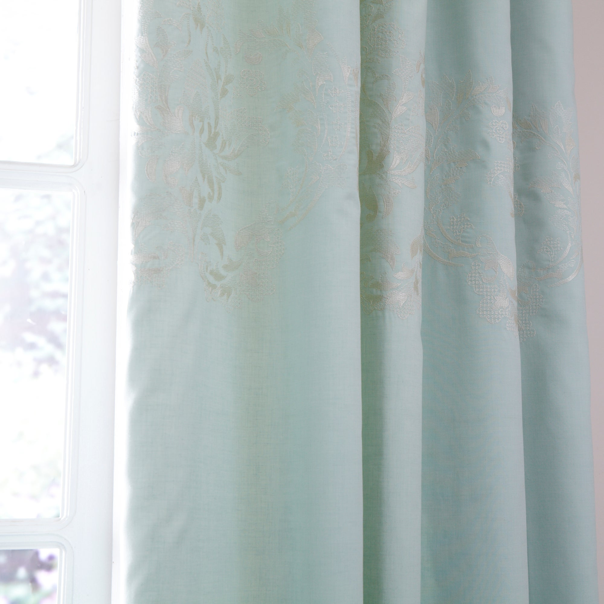 Duck Egg Nina Thermal Pencil Pleat Curtains