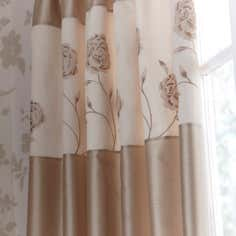 Gold Quilted Rose Thermal Pencil Pleat Curtains
