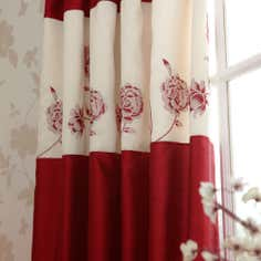 Red Quilted Rose Thermal Pencil Pleat Curtains