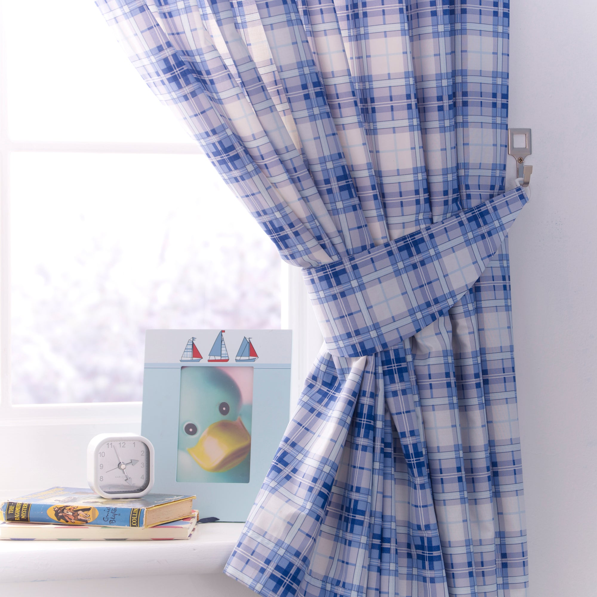 Kids Blue Sail Away Blackout Pencil Pleat Curtains