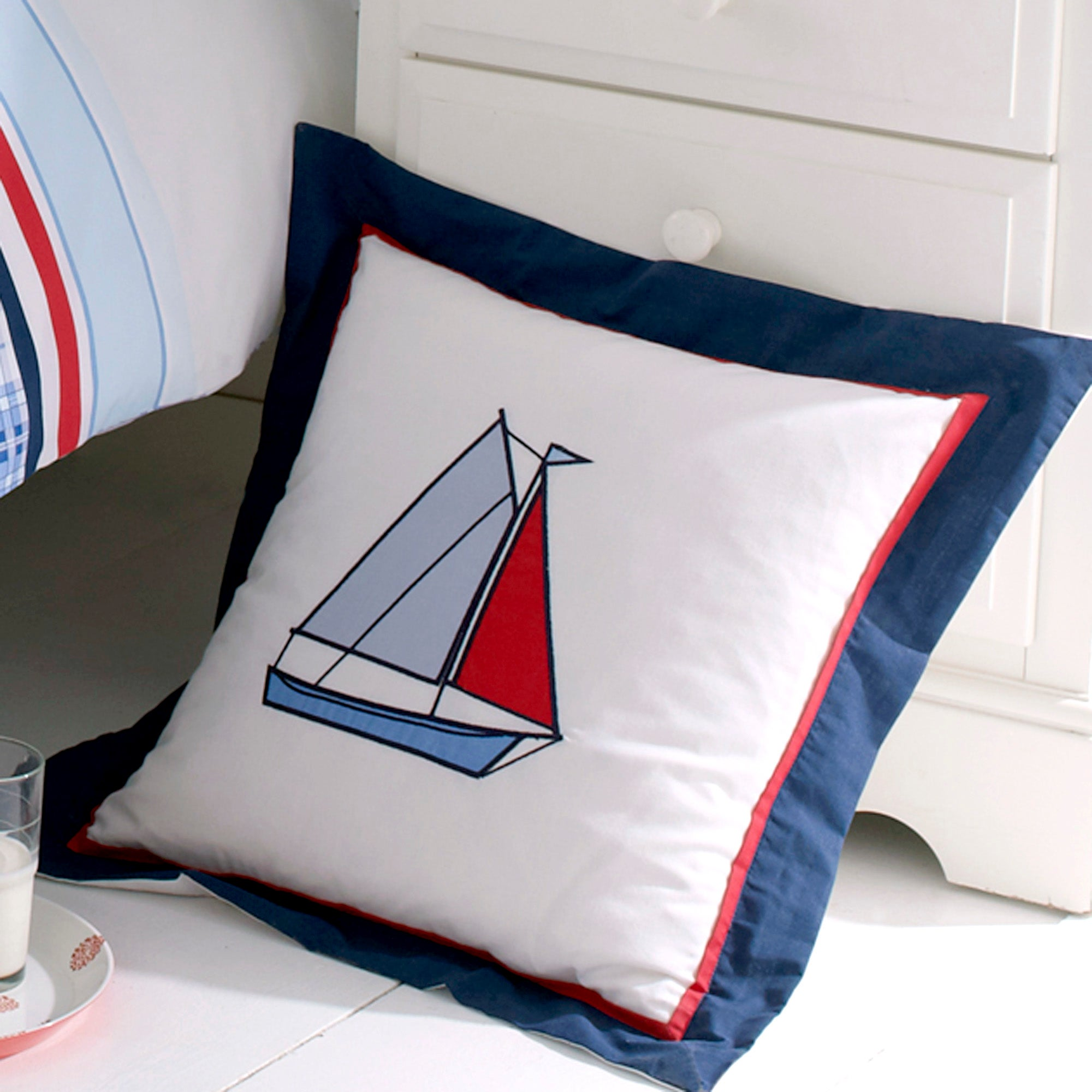 Kids Blue Sail Away Collection Cushion