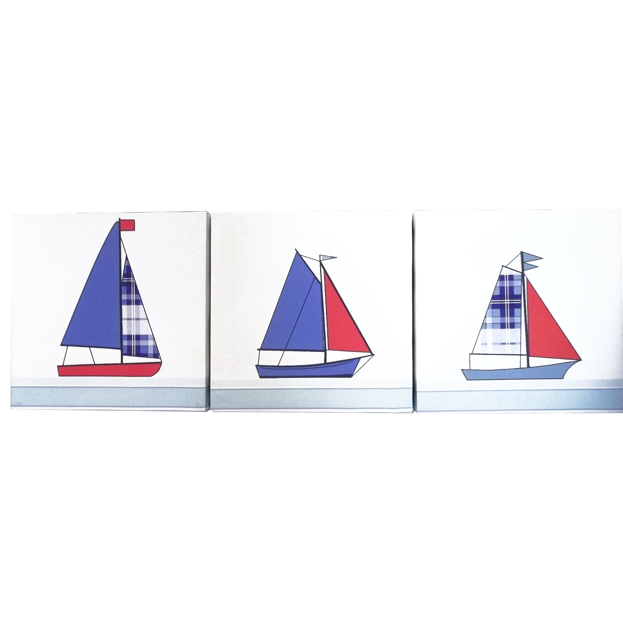 Kids Sail Away Collection Set of 3 Canvases