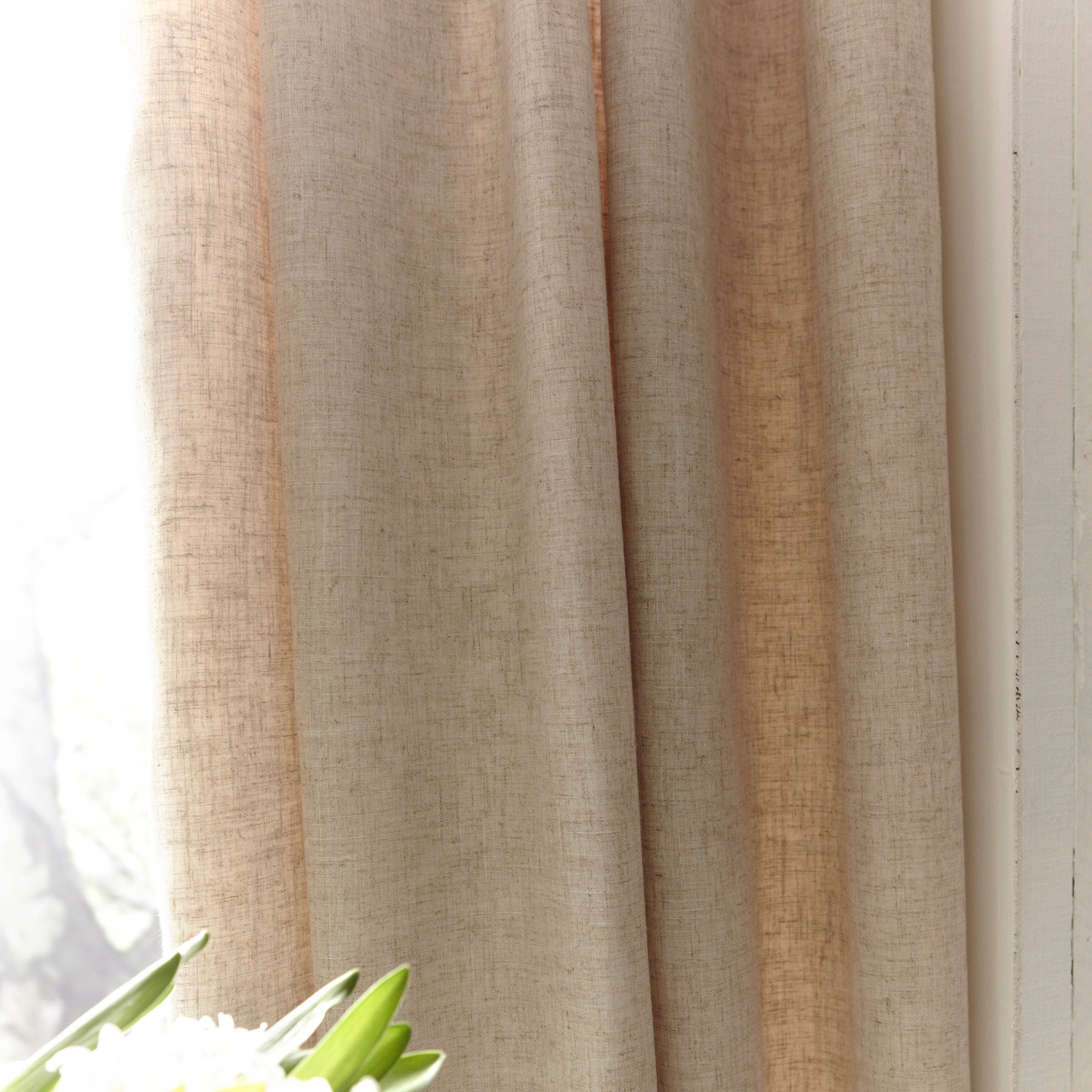 Natural Saki Thermal Pencil Pleat Curtains