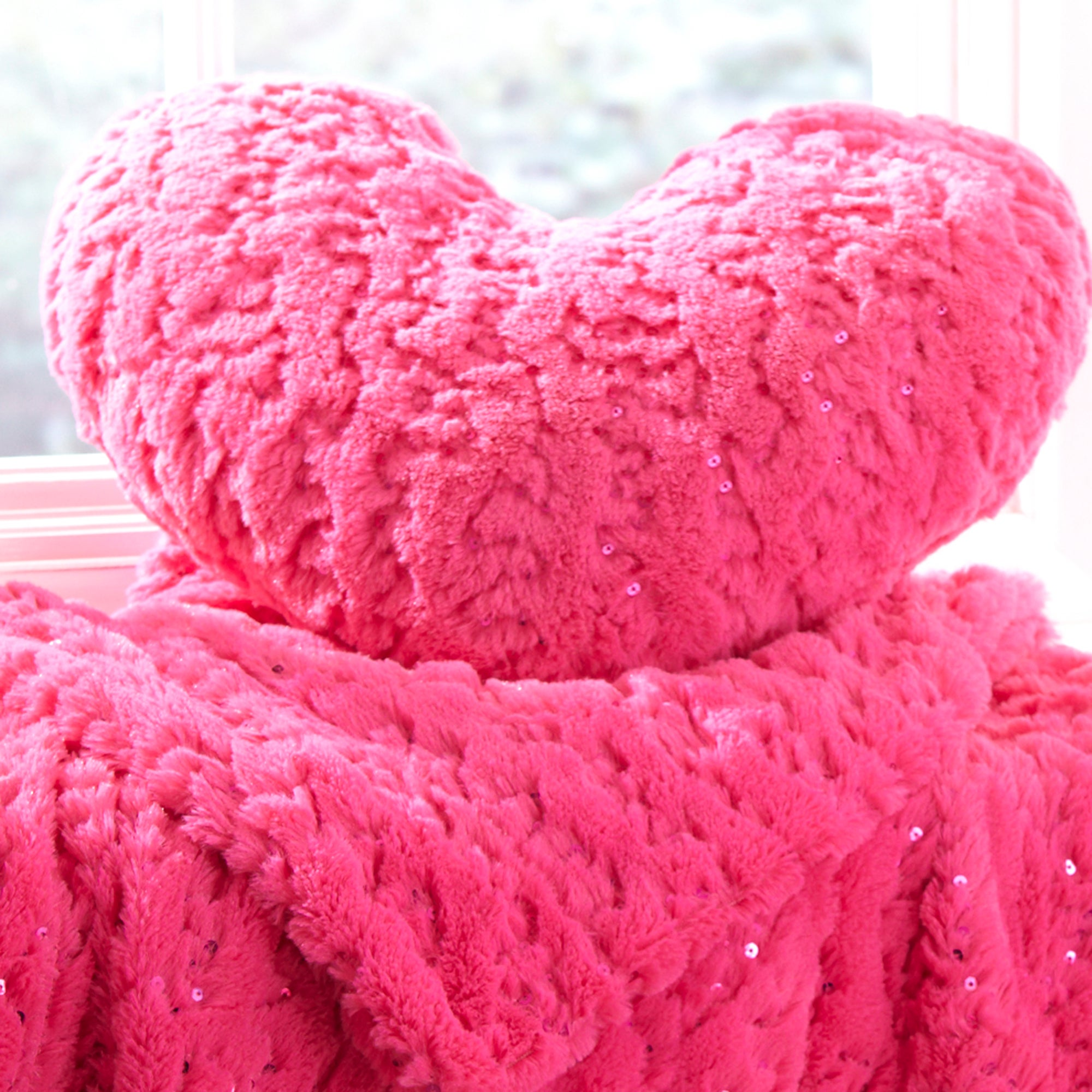 Fuchsia Sequin Fur 3D Heart Cushion