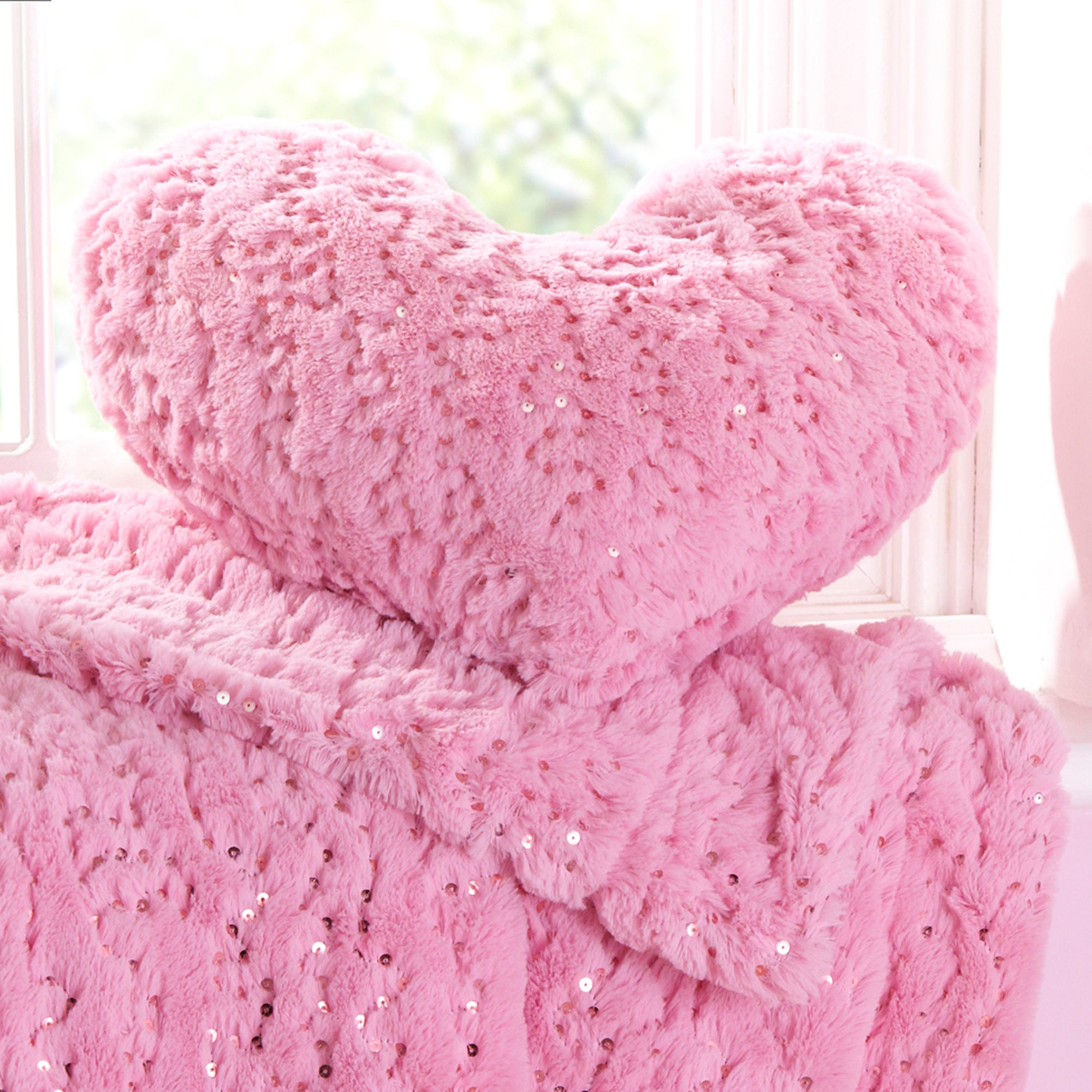 Pink Sequin Fur 3D Heart Cushion