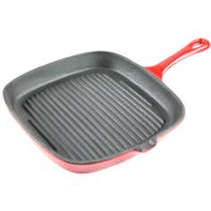 Red Spectrum Collection Cast Iron Grill Pan
