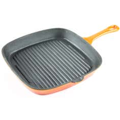 Orange Spectrum Collection Cast Iron Grill Pan