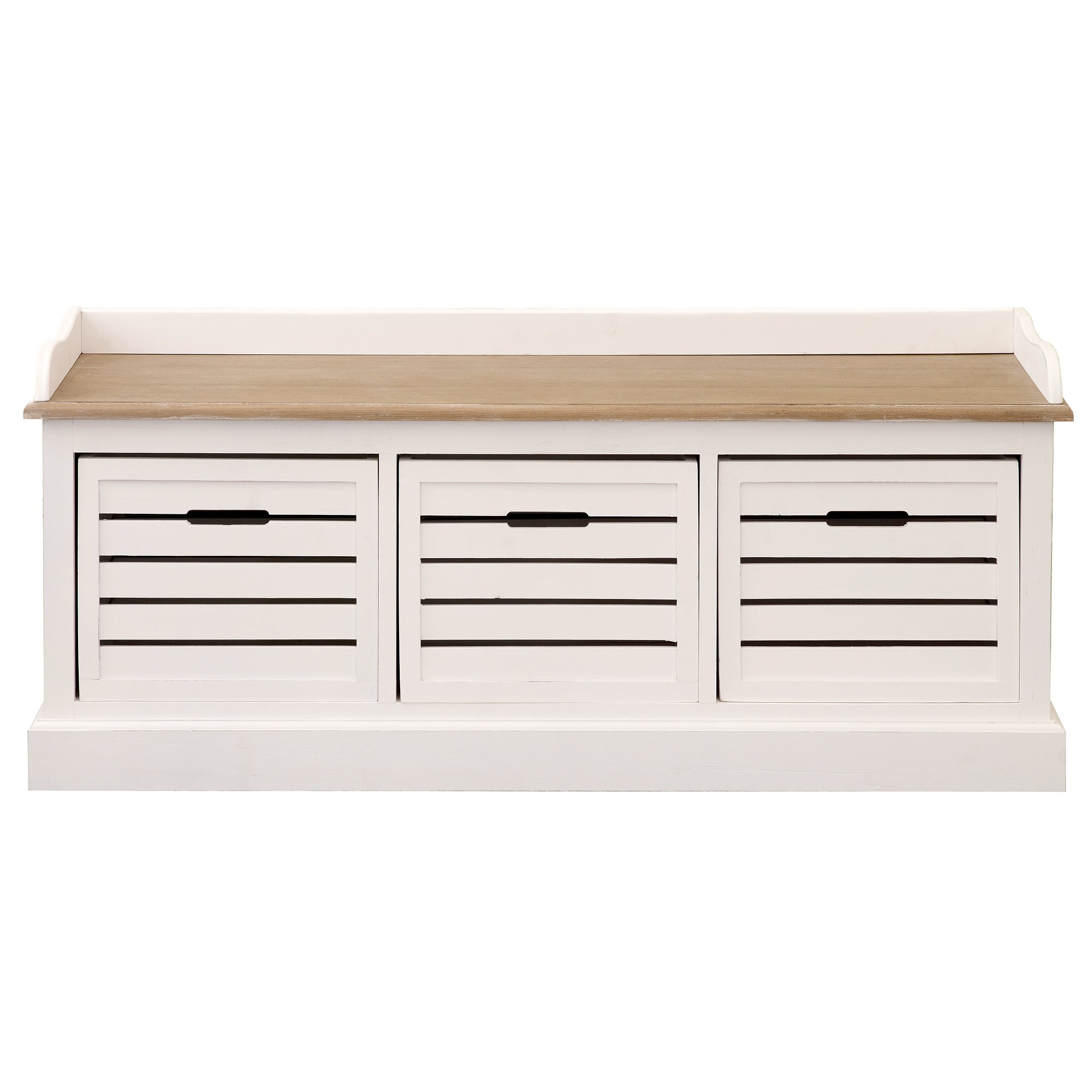 Bretagne White 3 Drawer Storage Bench