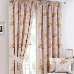 Ochre Amelia Lined Pencil Pleat Curtains