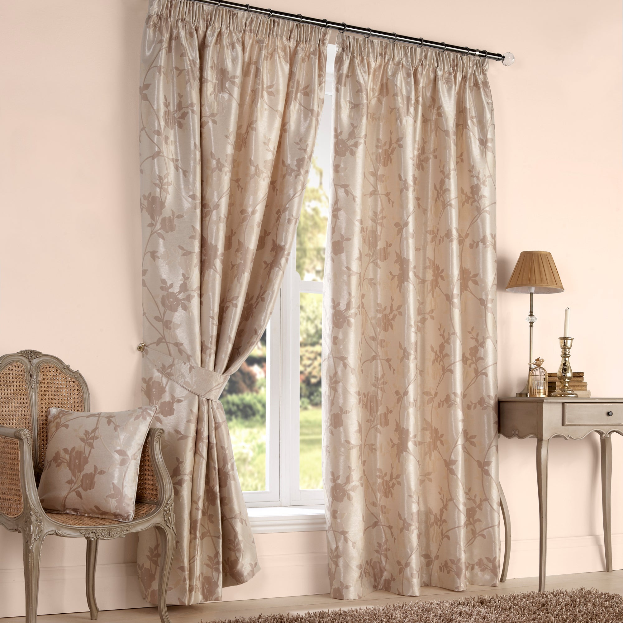 Natural Arianna Lined Pencil Pleat Curtains