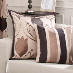 Chocolate Lalique Collection Stripe Cushion