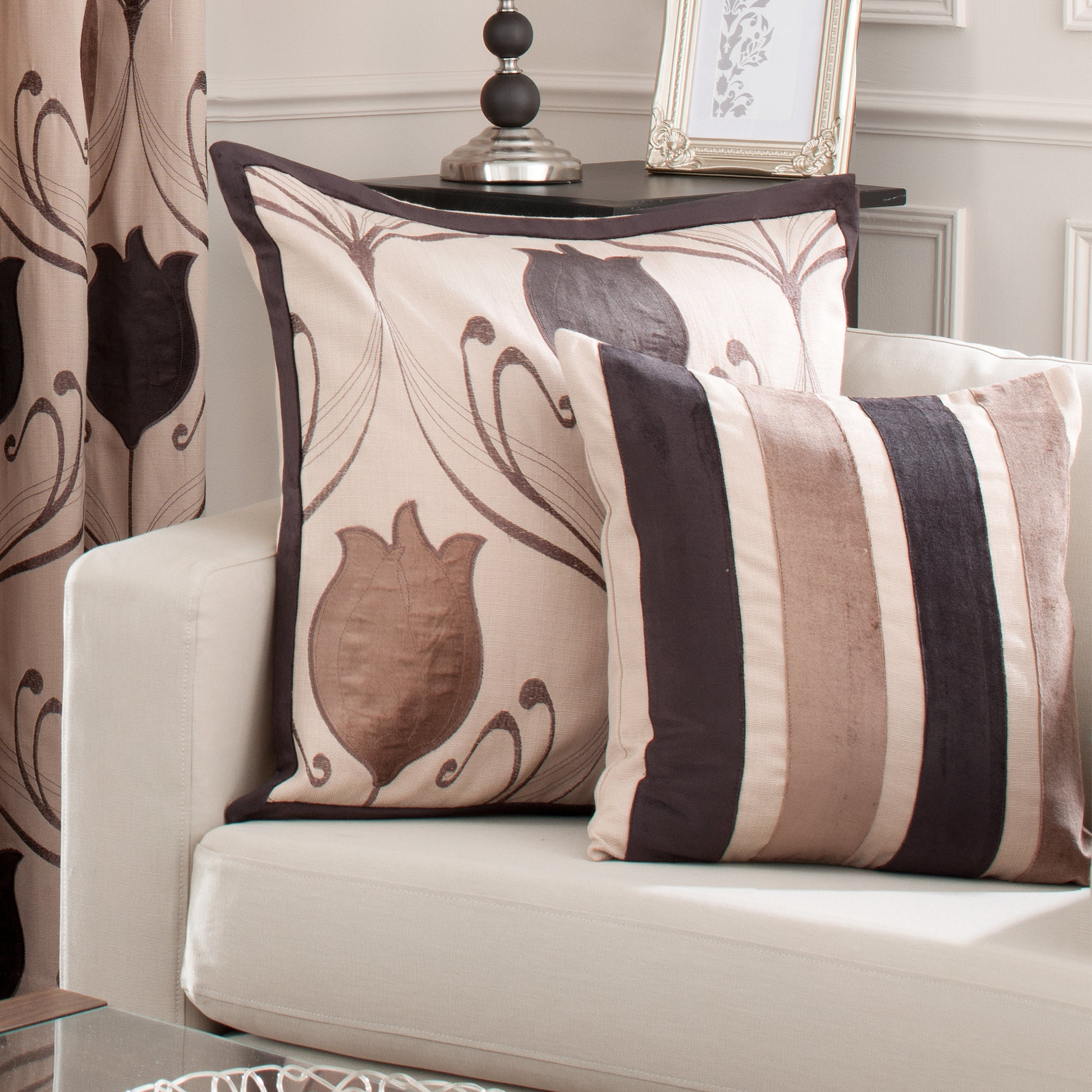 Chocolate Lalique Collection Flower Cushion