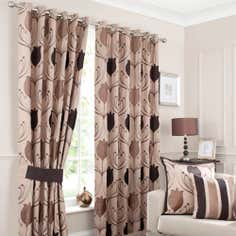 Chocolate Lalique Lined Eyelet Curtains
