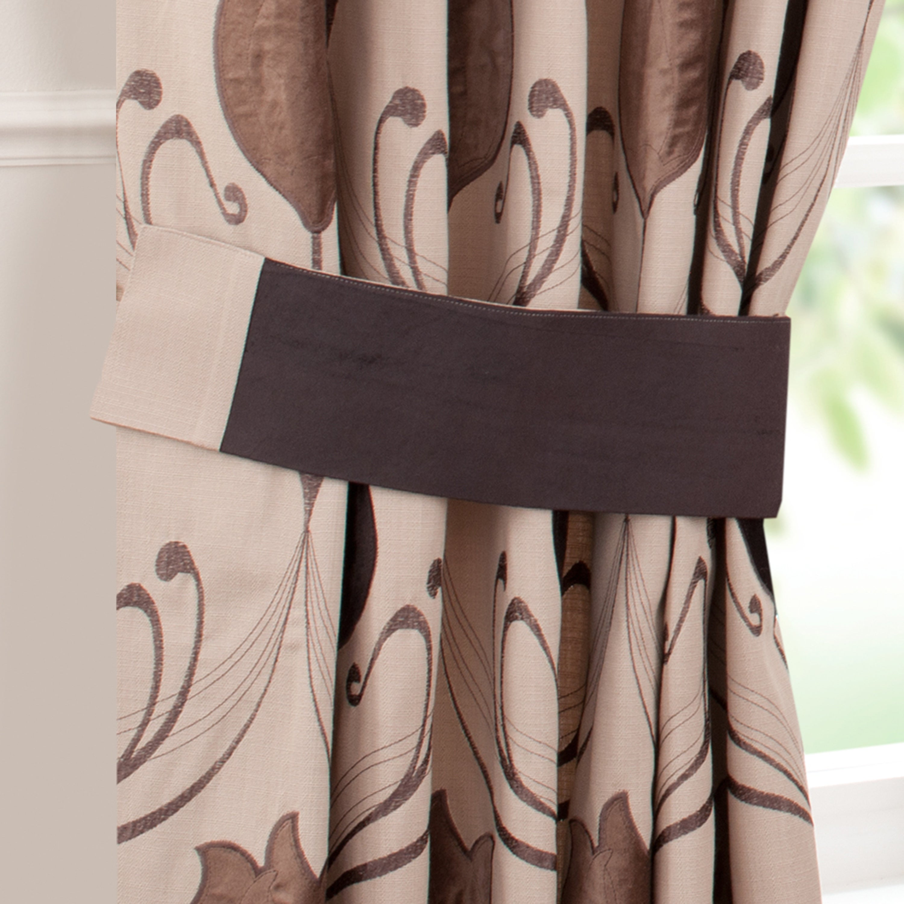 Chocolate Lalique Pencil Pleat Curtain Collection