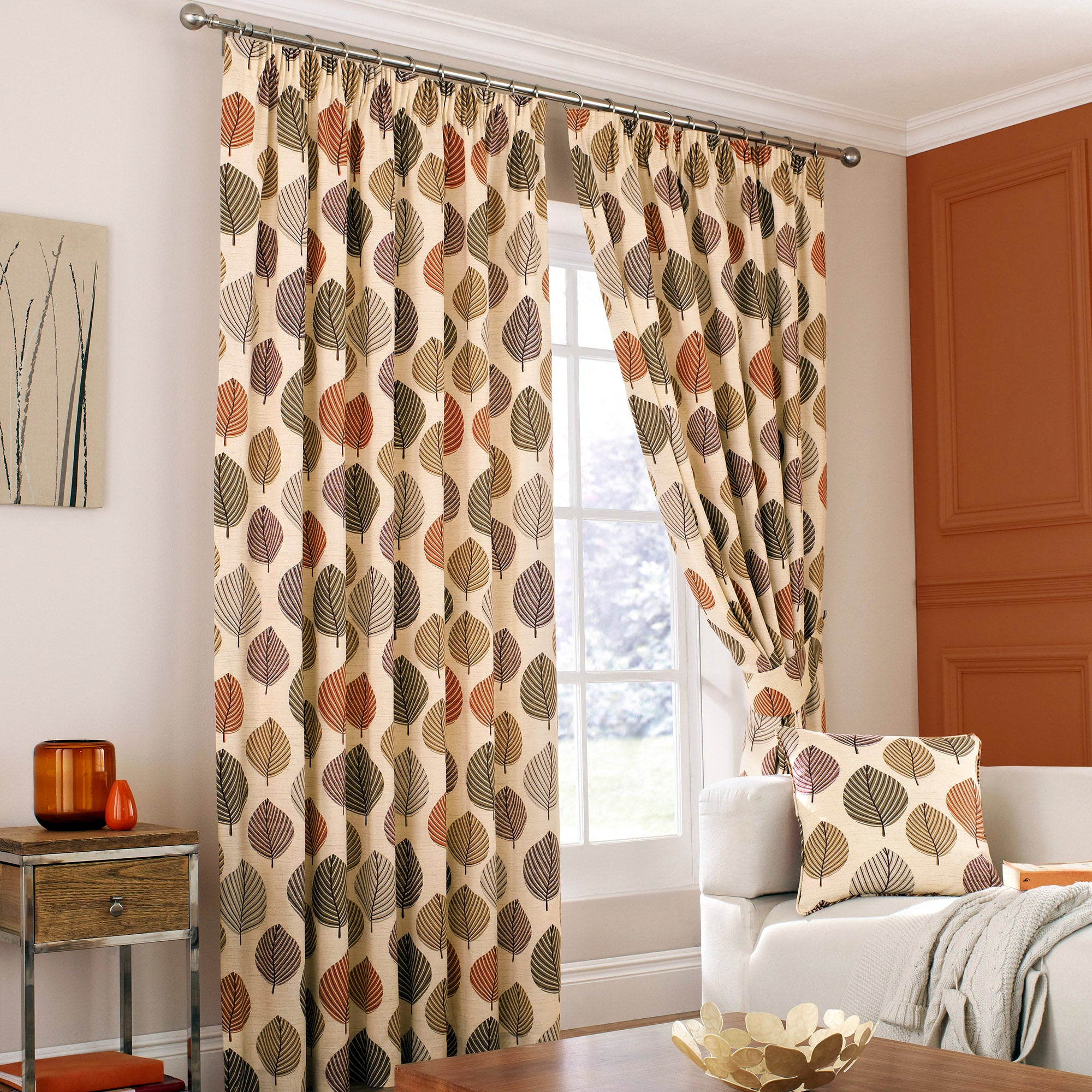 Terracotta Regan Lined Pencil Pleat Curtains