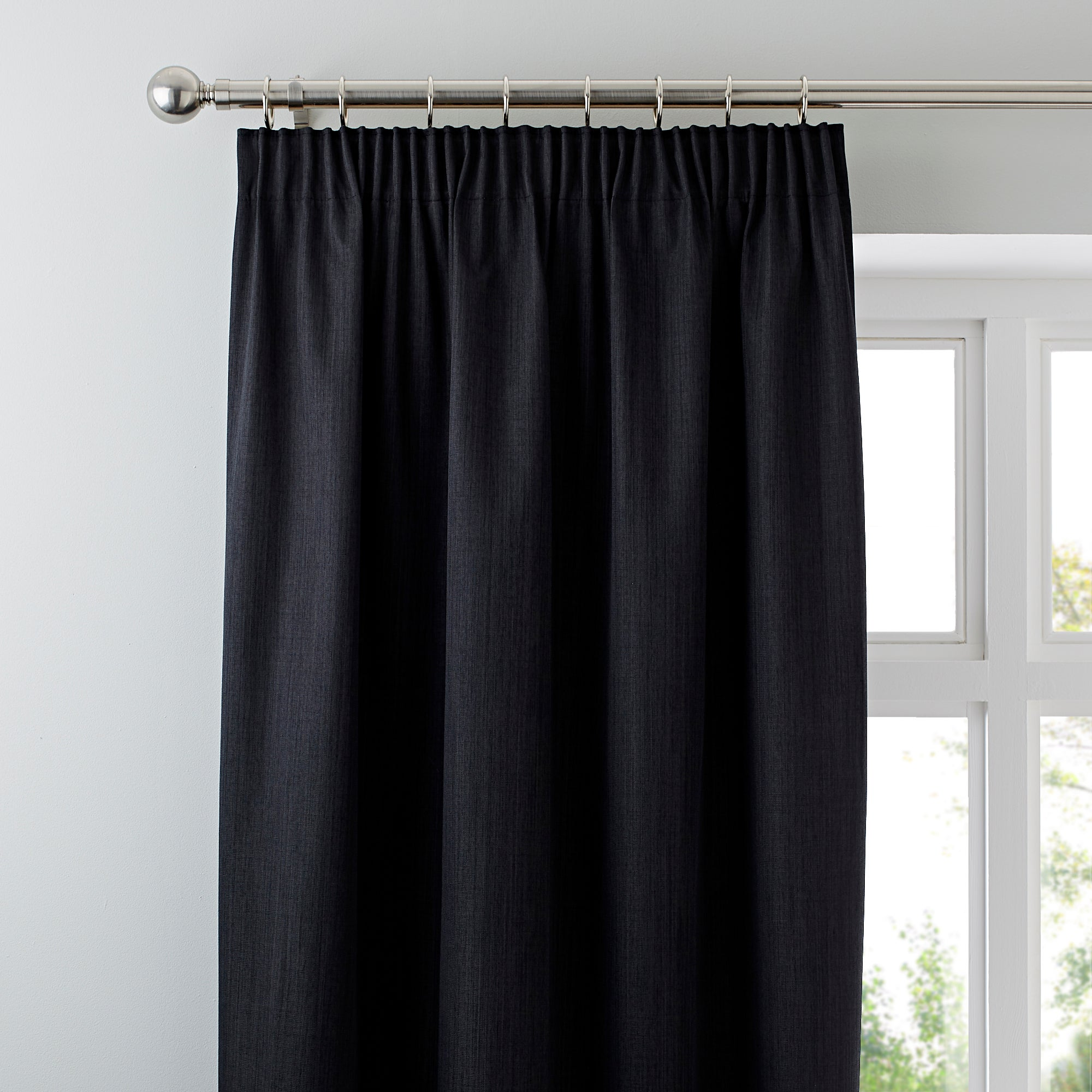 Waters and Noble Black Solar Blackout Pencil Pleat Curtains
