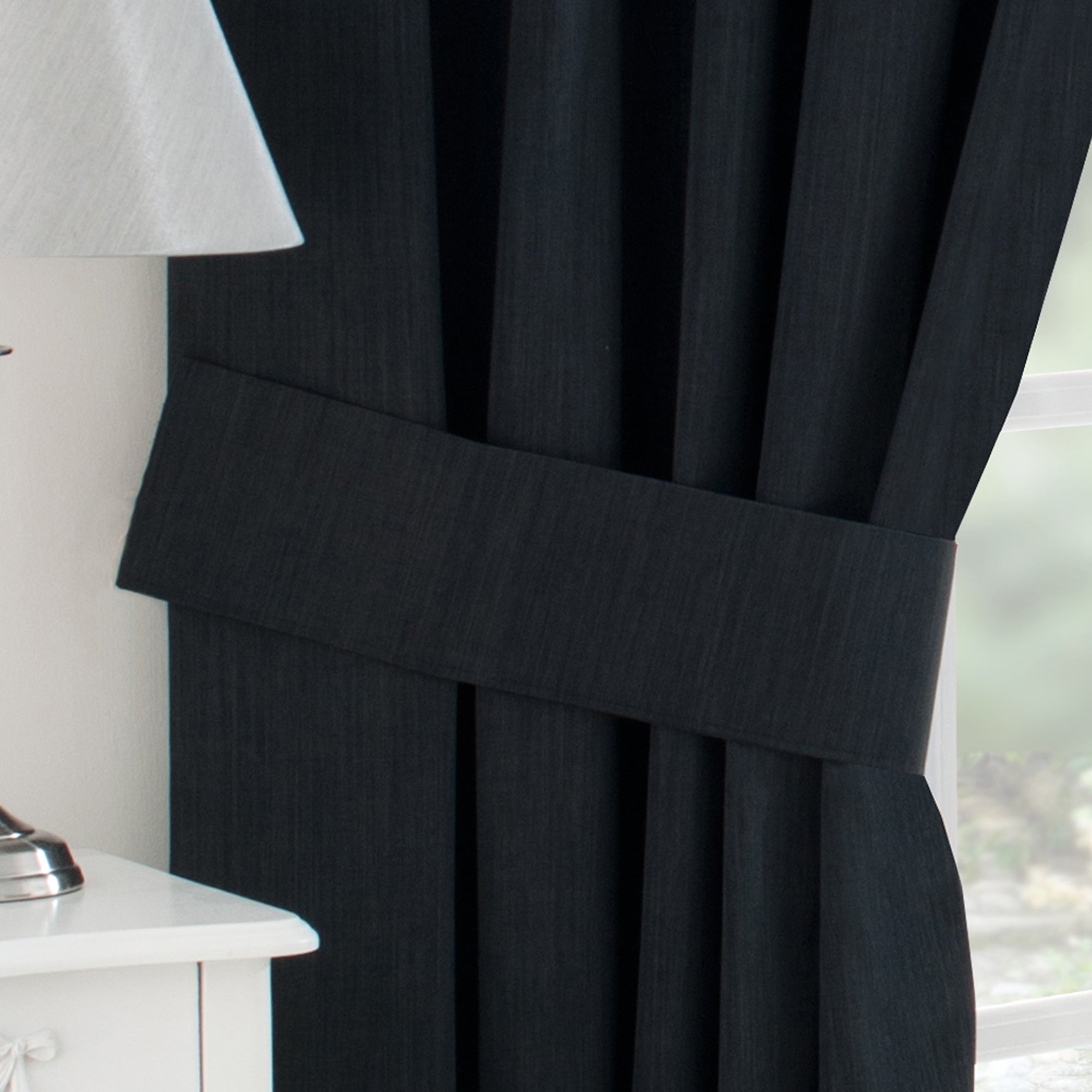 Waters and Noble Black Solar Blackout Collection Tiebacks