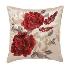 Embroidered Rose Cushion