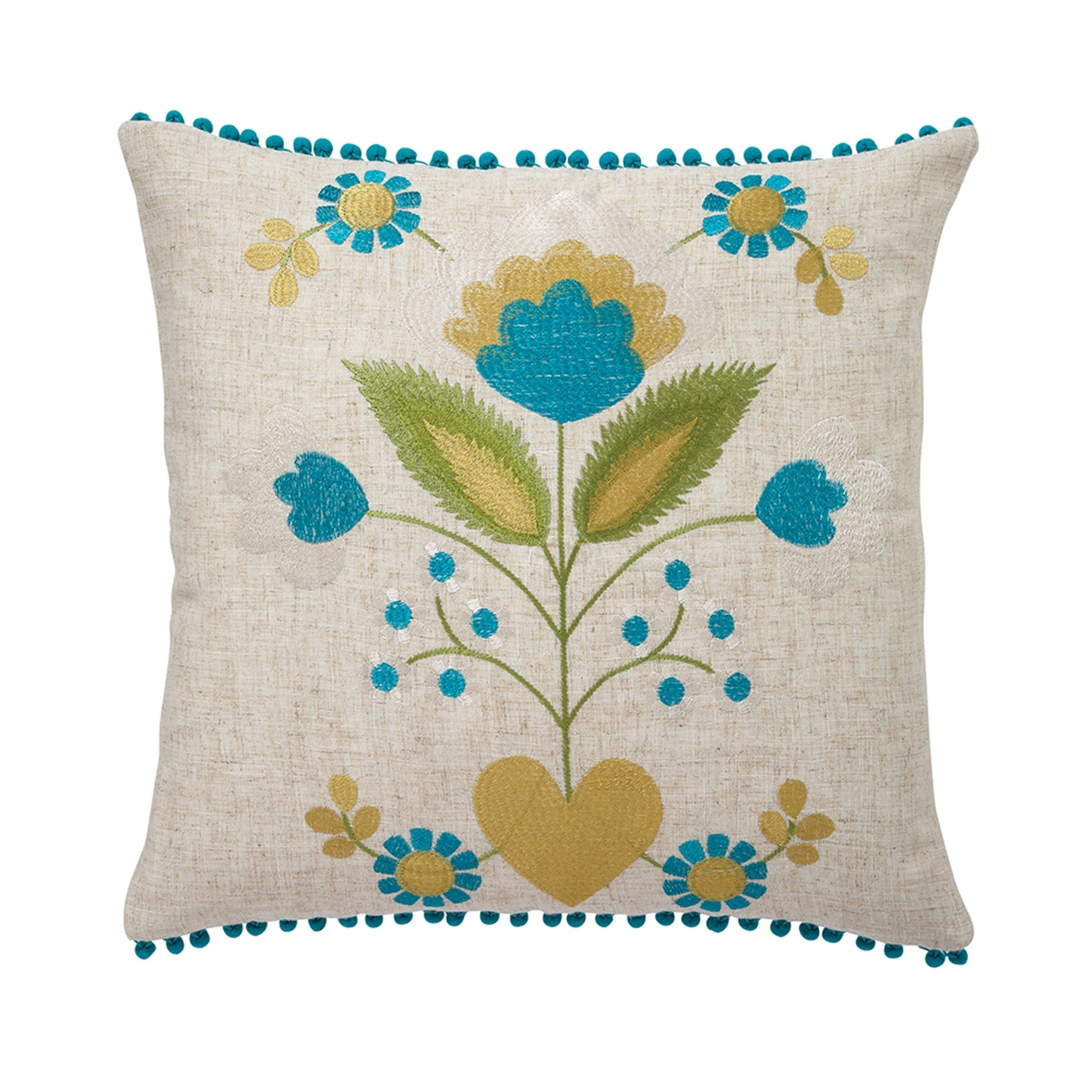 Teal Flower Pom Pom Cushion