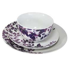 Aubergine Autumn Leaves Collection 12 Piece Dinner Set
