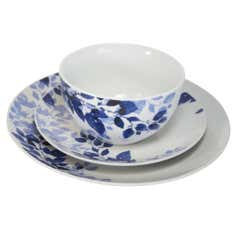 Blue Autumn Leaves Collection 12 Piece Dinner Set