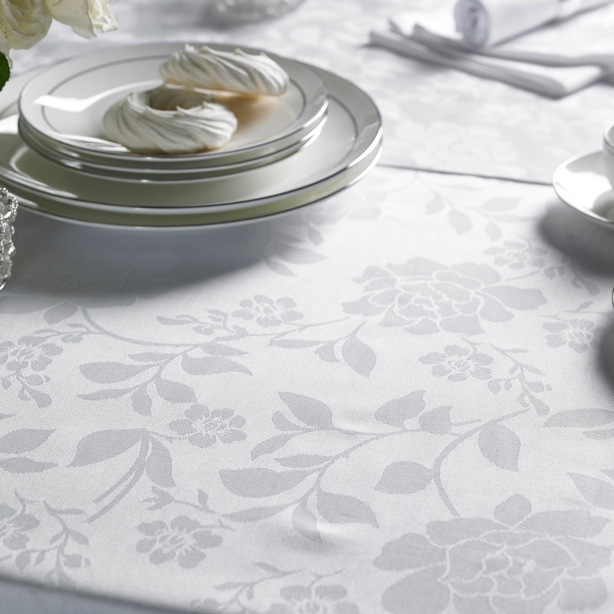 Dorma White Amelia Collection Tablecloth