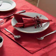 Pack of Four Red Faux Silk Napkins