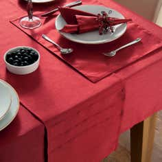 Red Faux Silk Tablecloth