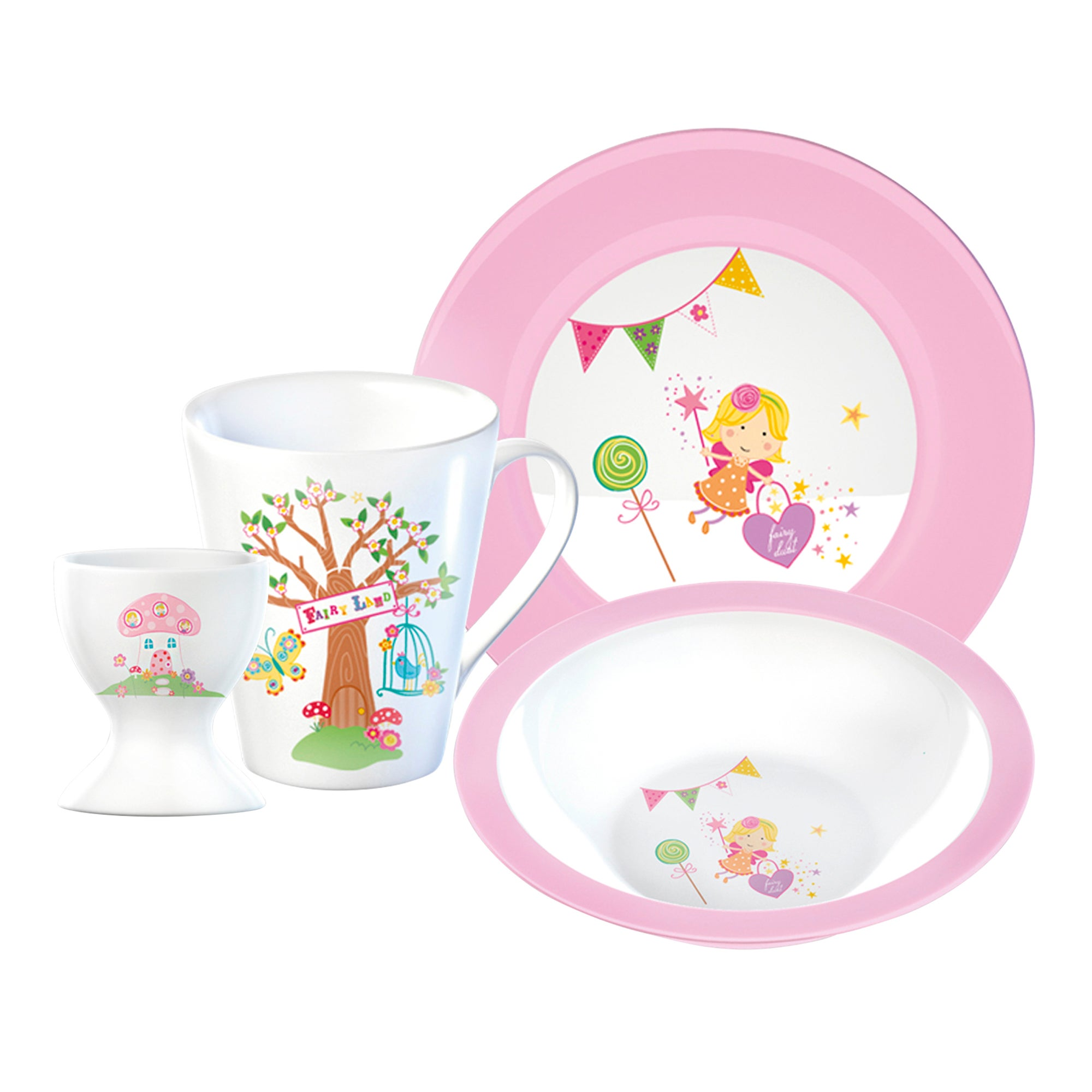 Kids Fairies 4 Piece Breakfast Set