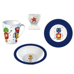 Kids Robots 4 Piece Breakfast Set