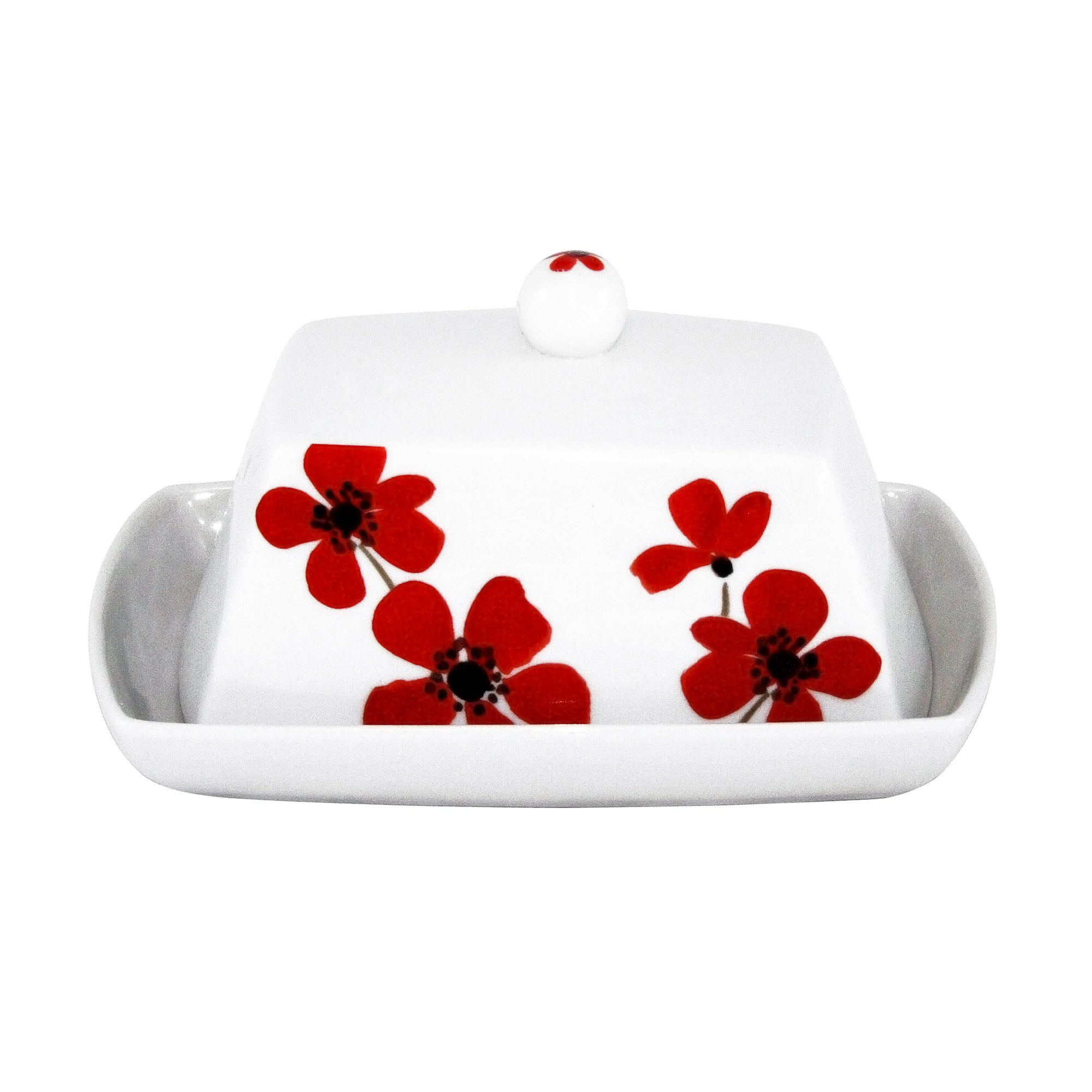 Red Painted Poppy Collection Butter Dish