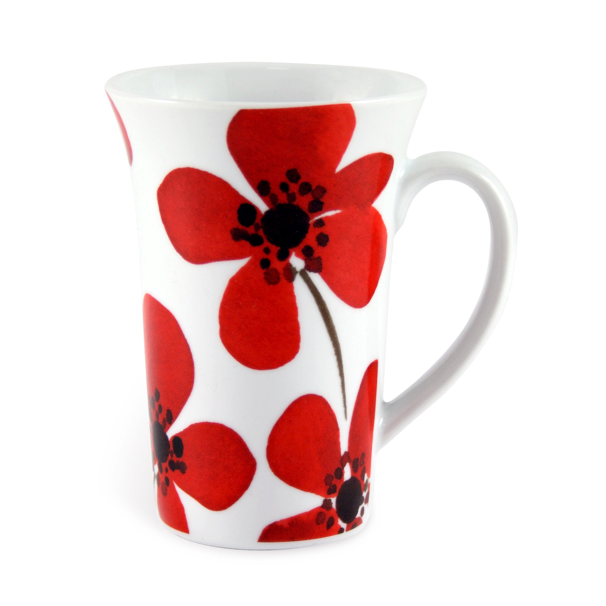 Red Painted Poppy Collection Flared Mug