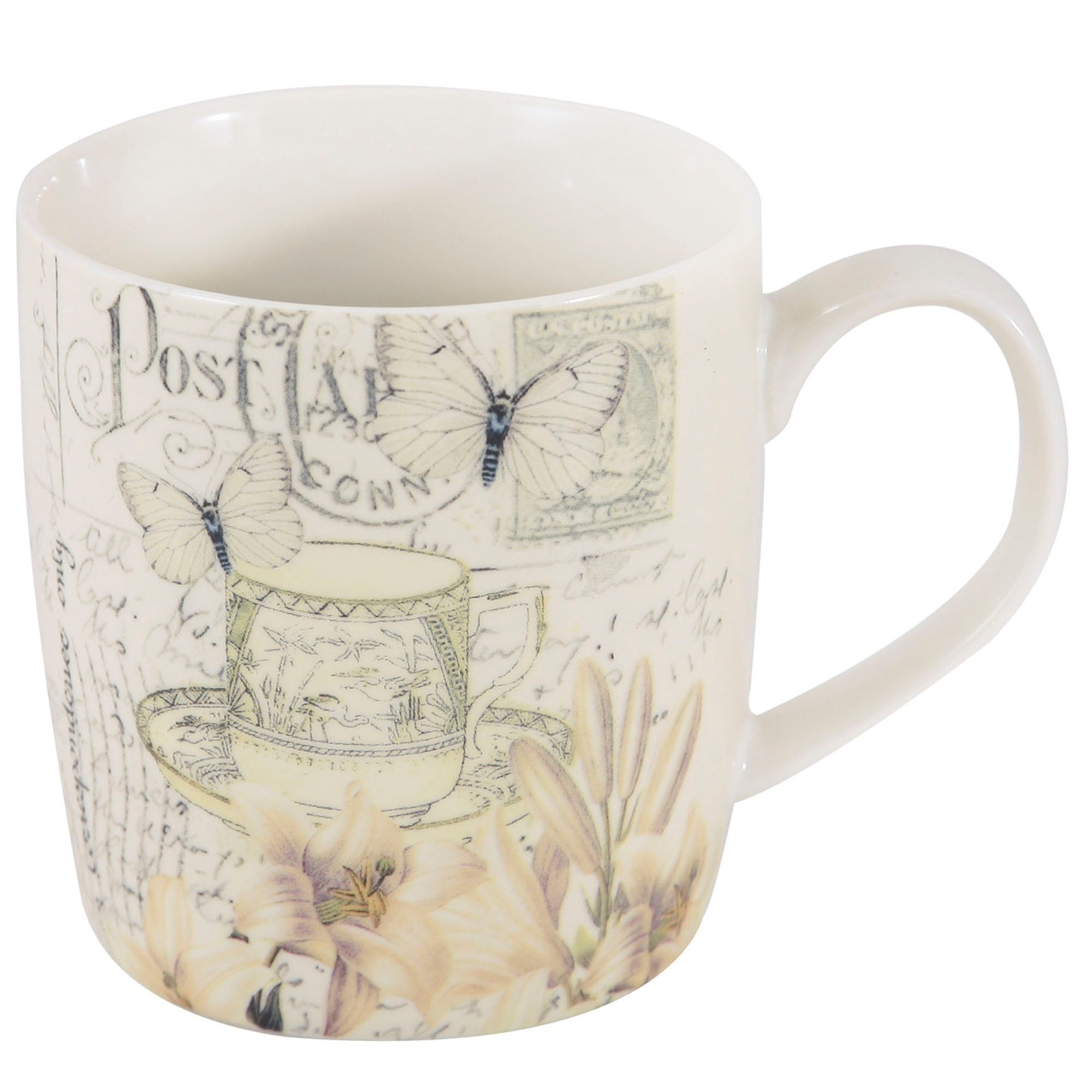 Vintage Butterfly Barrel Mug
