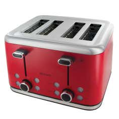 Brabantia Stainless Steel Red 4 Slice Toaster