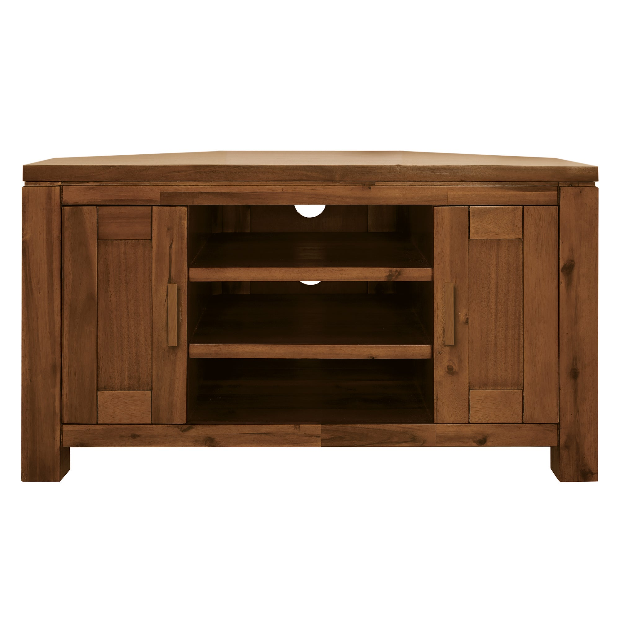 Seville Acacia Dark Wood Corner TV Unit