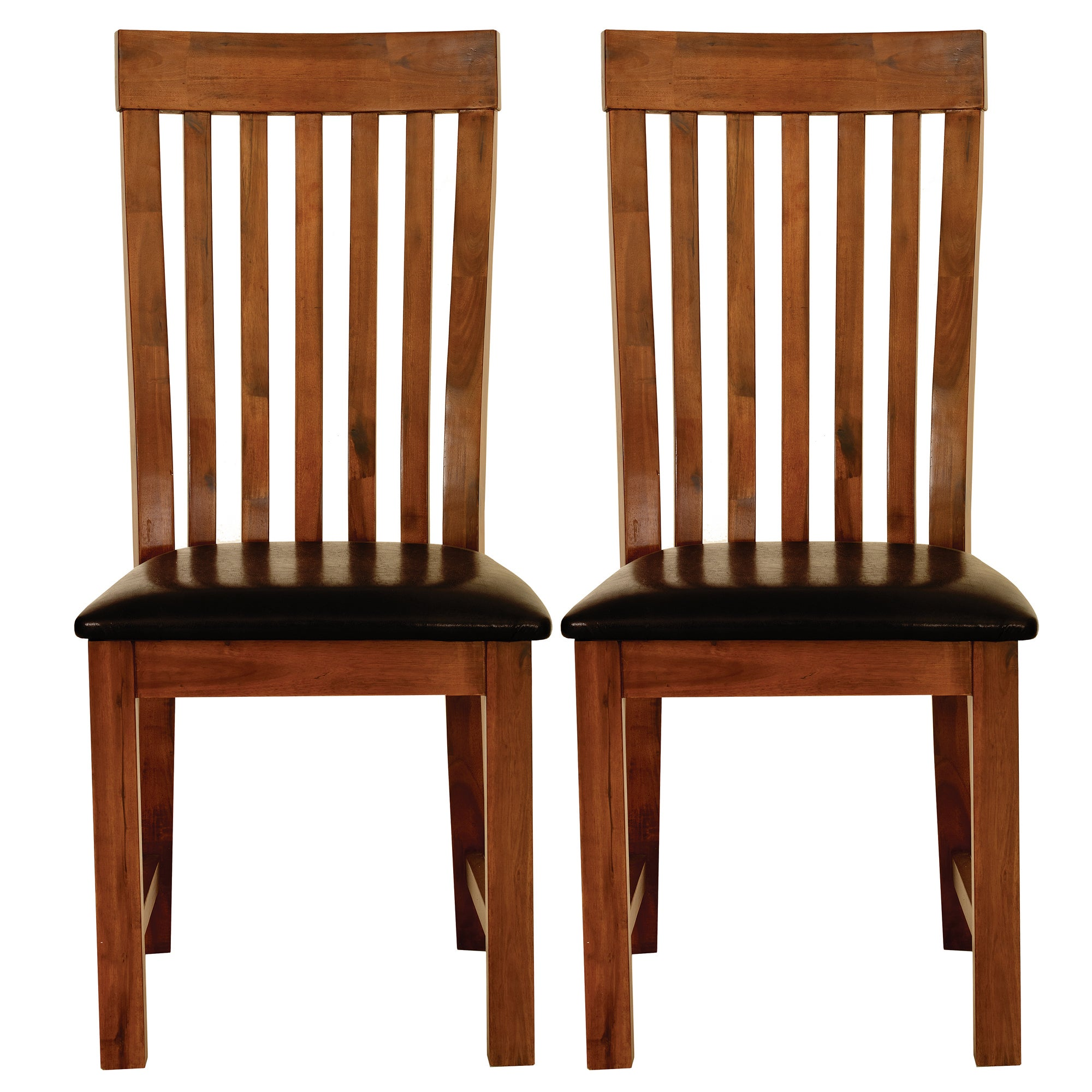 Seville Acacia Dark Wood Pair of Dining Chairs
