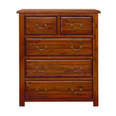 Winchester Acacia Dark Wood 5 Drawer Chest