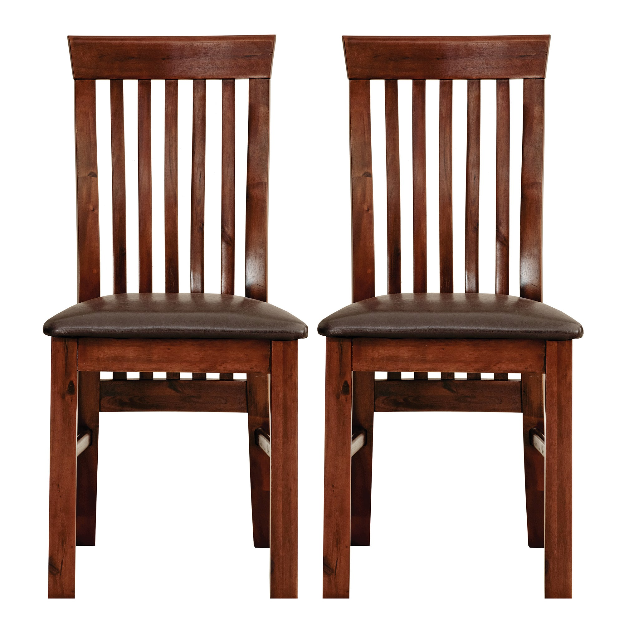 Winchester Acacia Dark Wood Pair of Dining Chairs