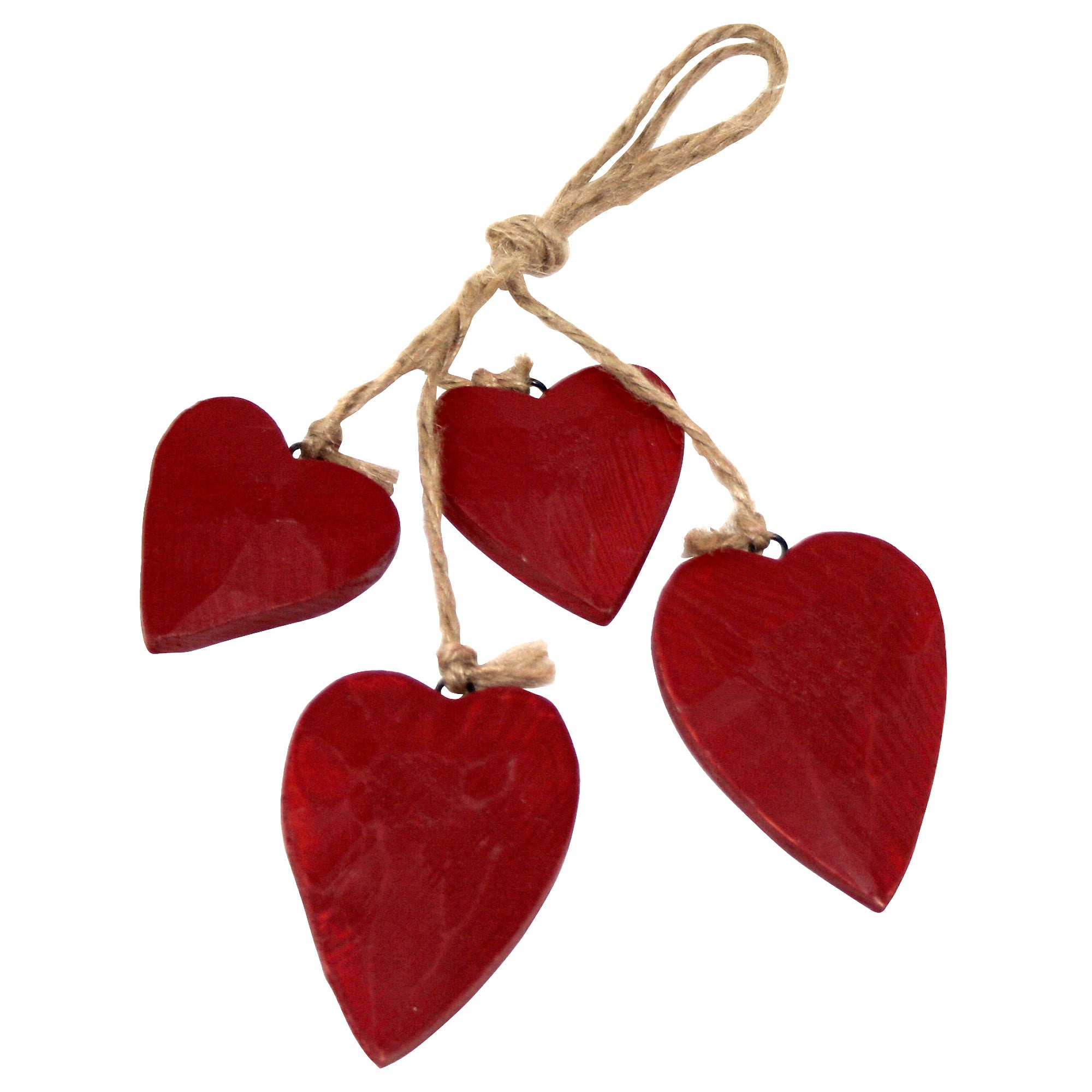 Red Ruby Collection Wooden Hearts on String