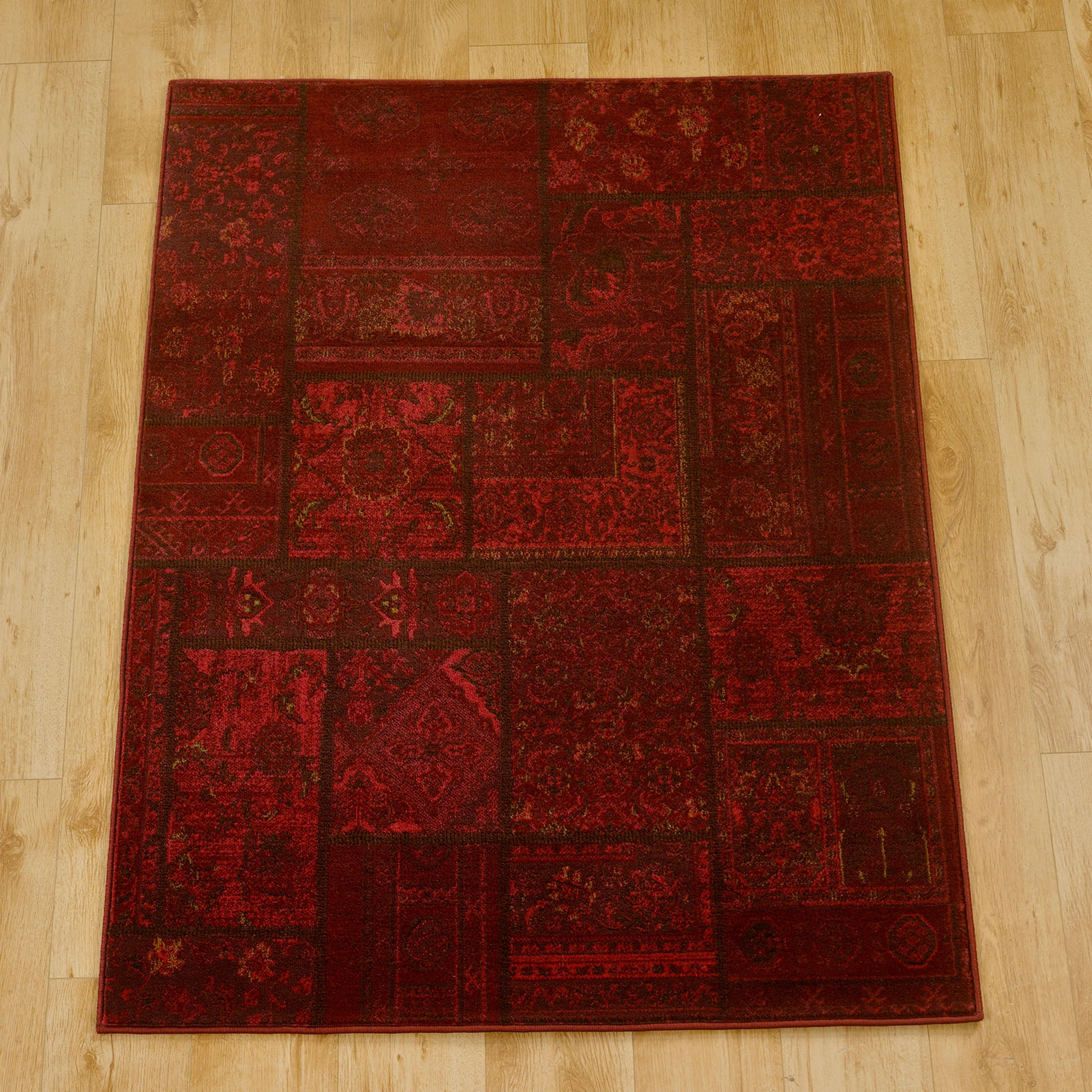 Red Aura Patchwork Rug