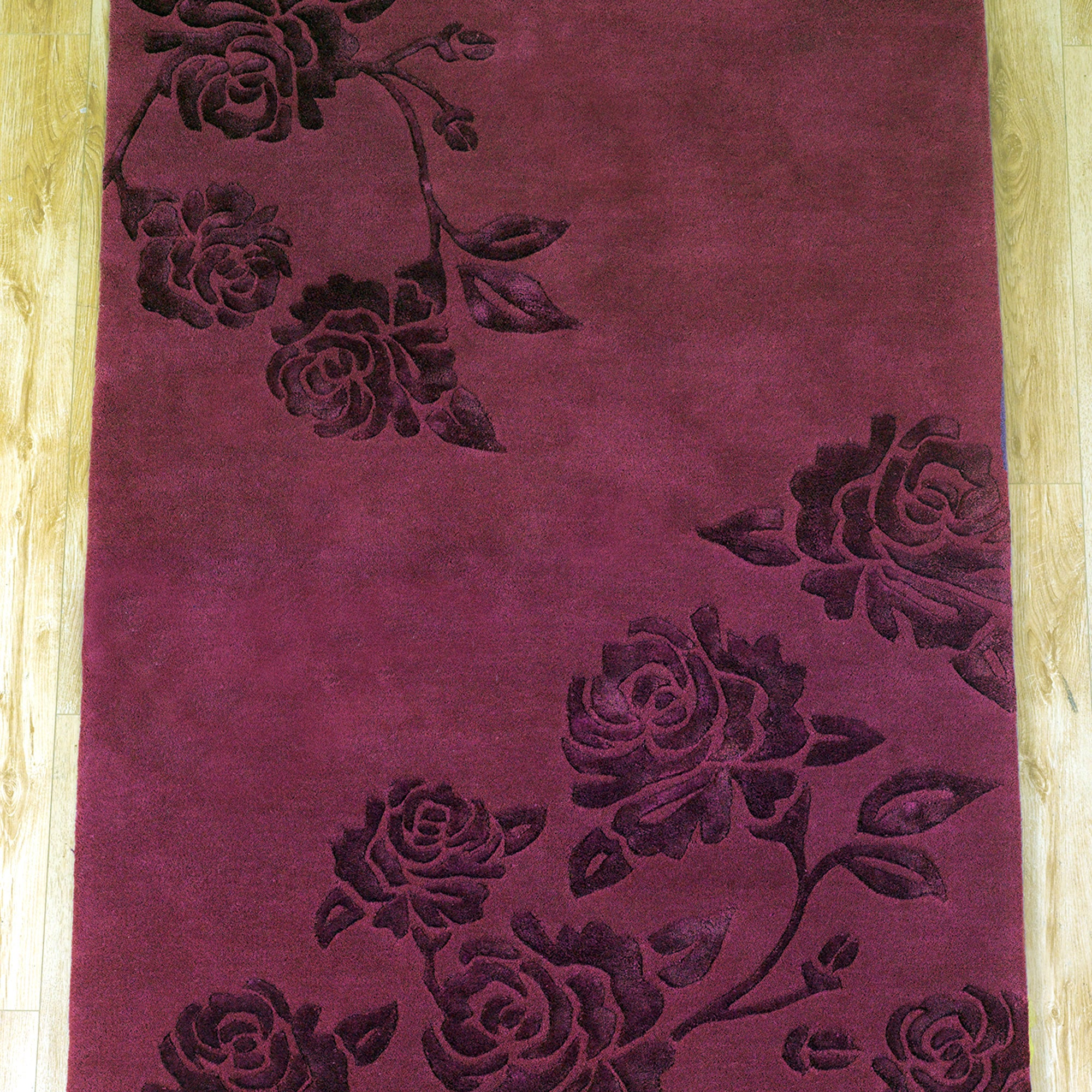 Wine Climbing Rose Wool Rug
