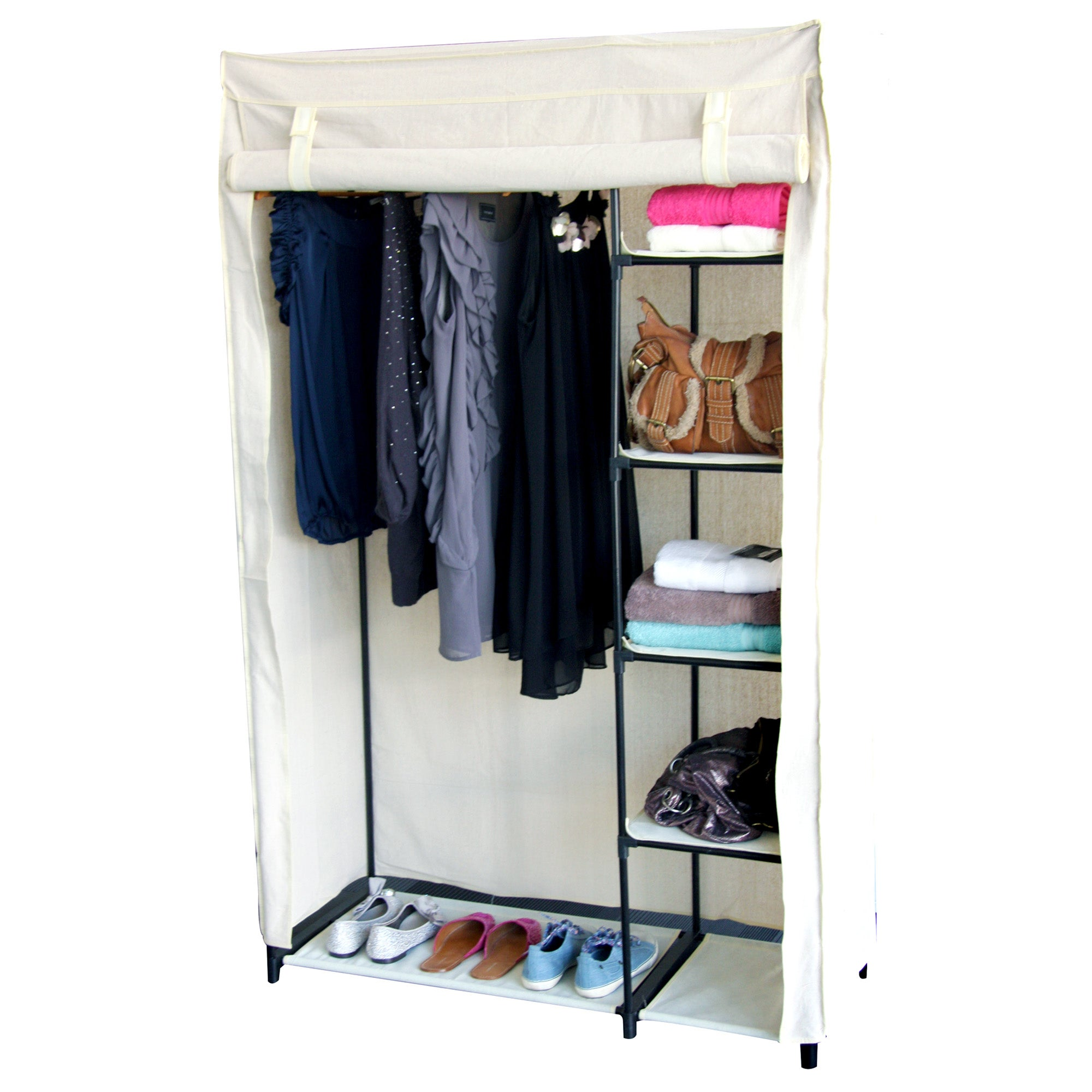 100% Cotton Collection Wardrobe with Shelves