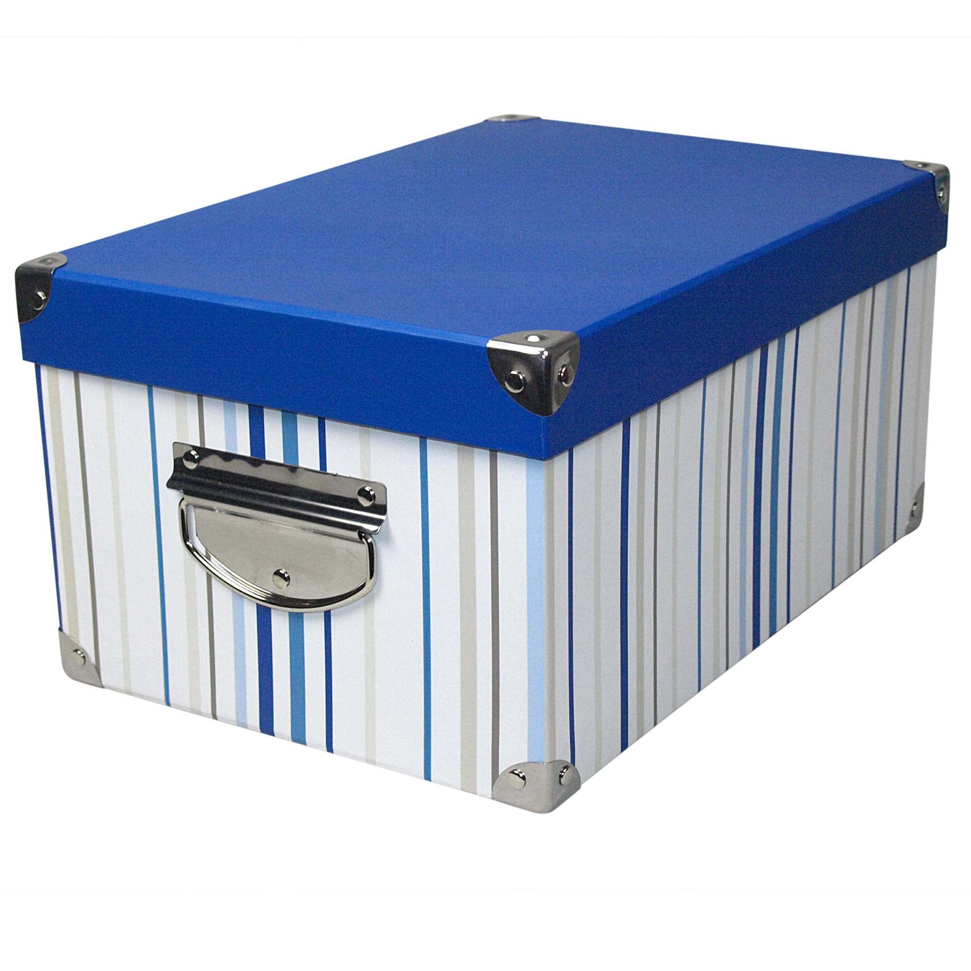 Blue Stripe Rectangular Storage Box