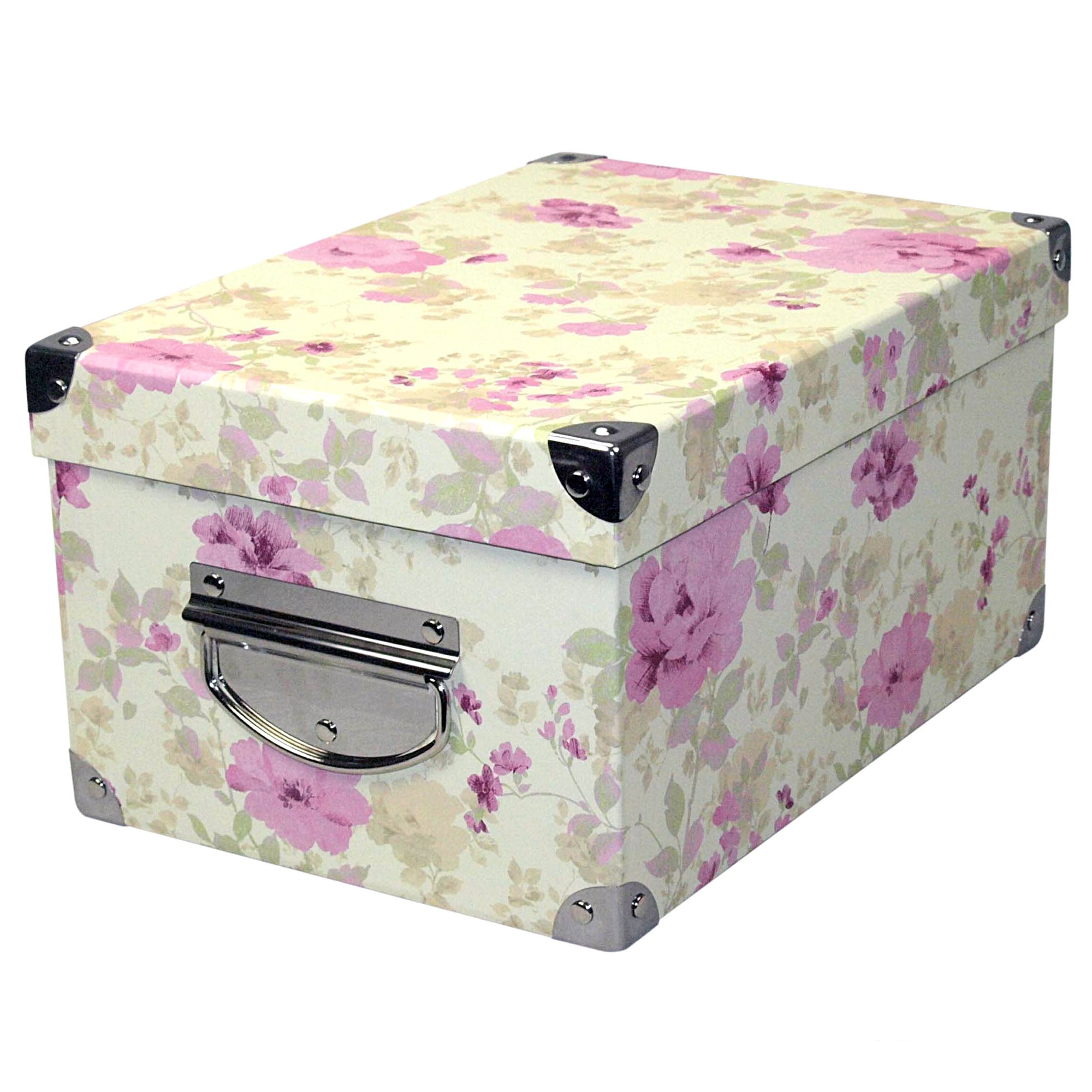 Pink Floral Rectangular Storage Box